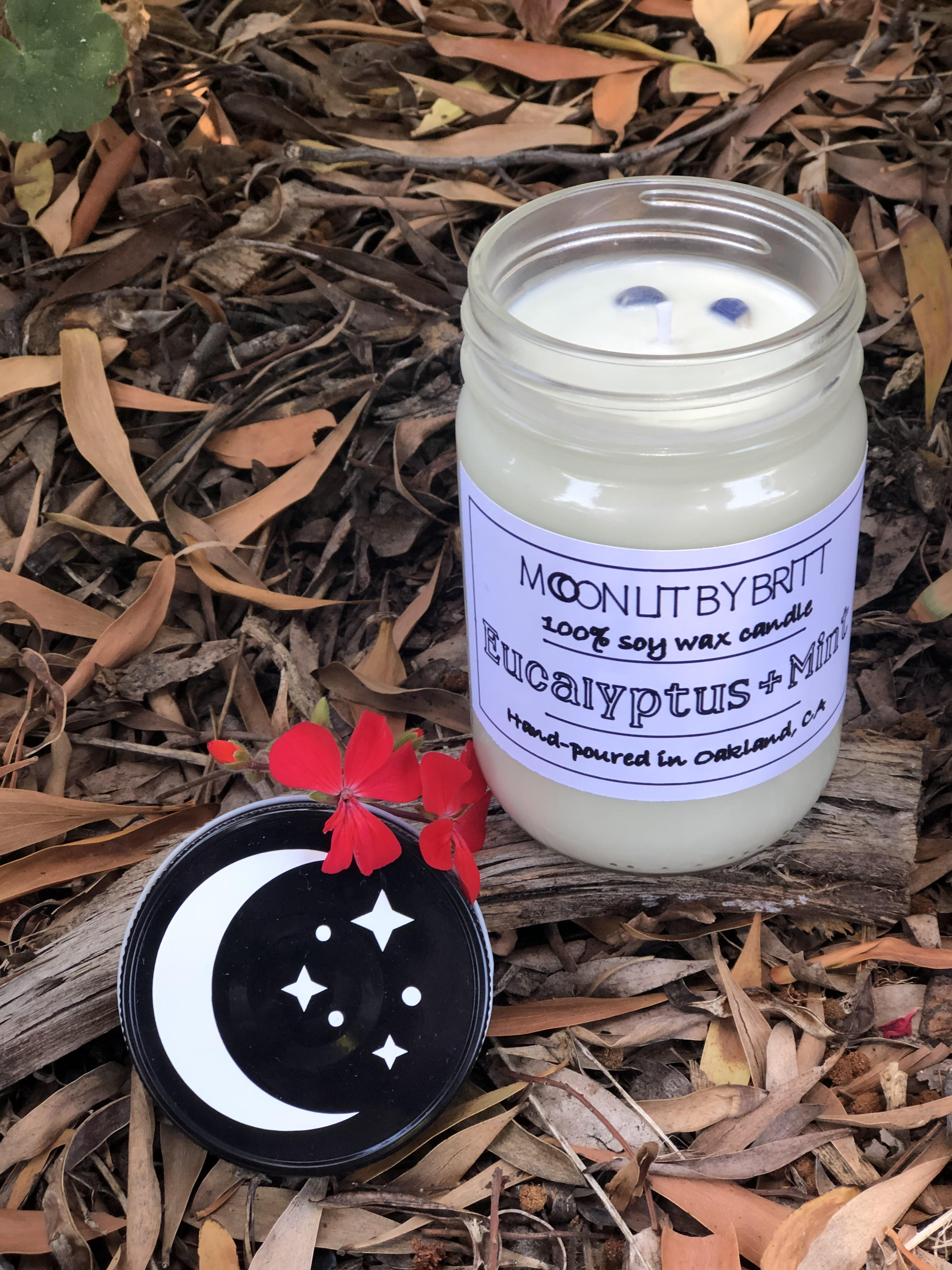 Eucalyptus + Mint 12 oz All Natural Aromatherapy | Zero Waste Ritual Soy Wax Candle Cooling and Invigorating