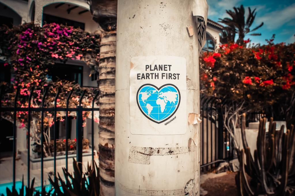 planet earth first poster outside in san francisco environment