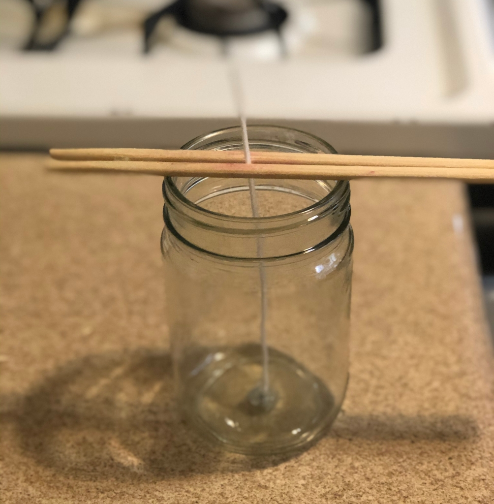 candlemaking glass jar wick chopstick
